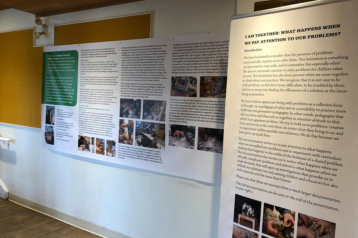 A photo of a printed banner with text and photos from Capilano Children's Centre's project.