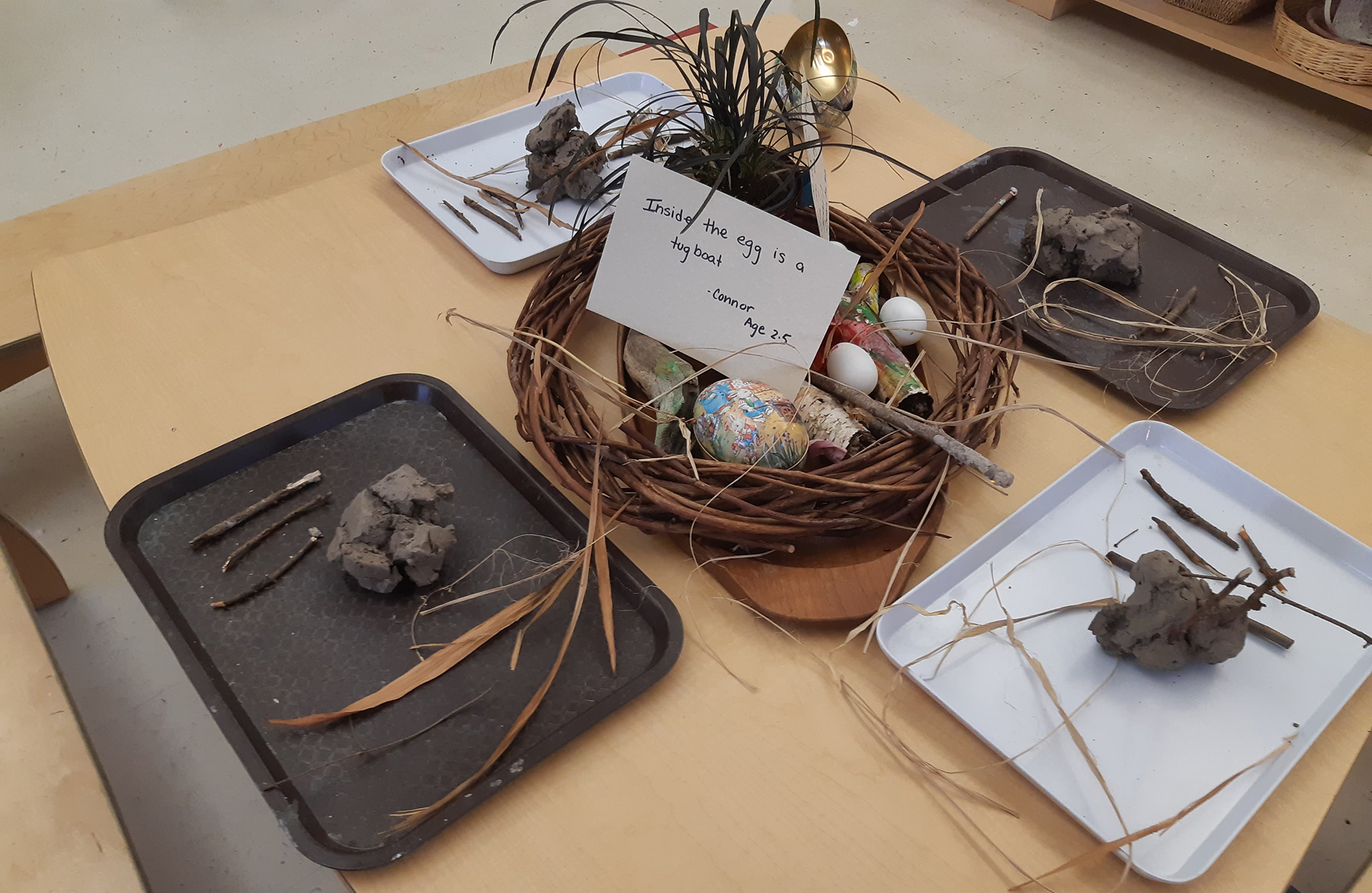 "A table set up with trays of various natural materials. There is a card which says ""Inside the egg is a toy boat"""