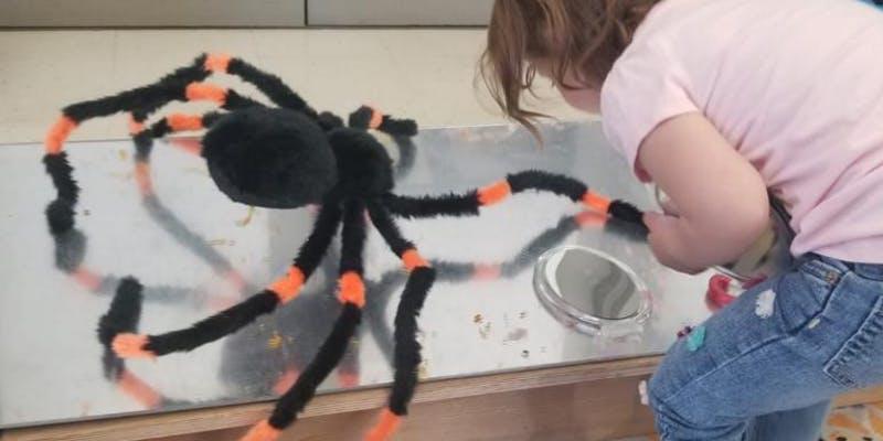 A child investigates alongside a plush spider.