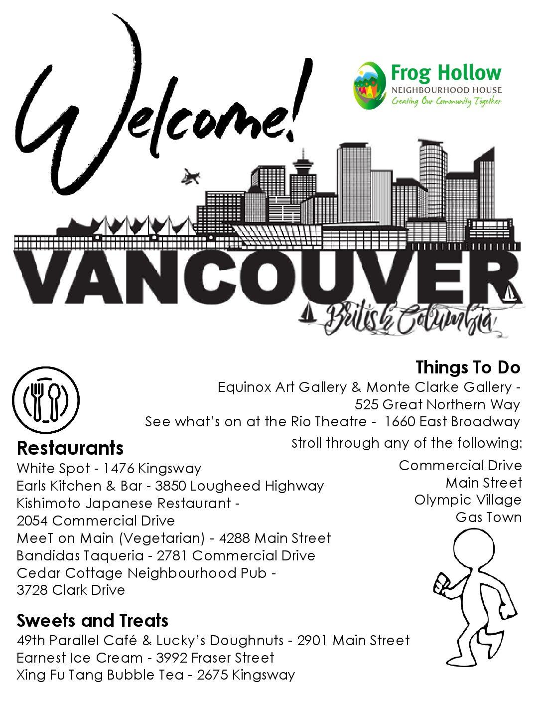 A flyer describing fun things to do in Vancouver