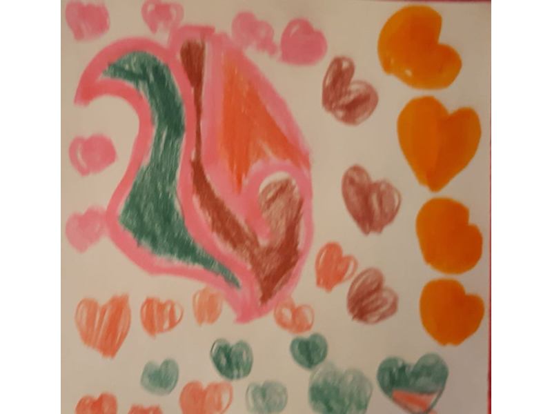 an abstract felt drawing, with a heart background