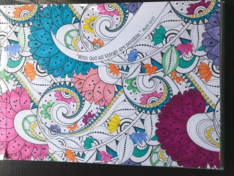 a colouring page of paisleys and flowers